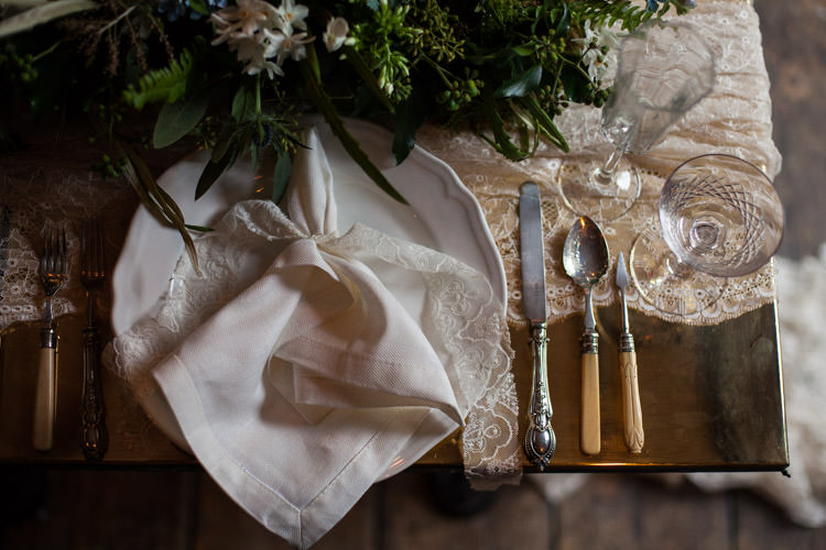 Place Setting Lace Vintage Blue Gold Luxe Victorian Wedding Ideas http://www.francescarlisle.co.uk/