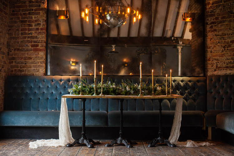 Tablescape Decor Candle Foliage Greenery Blue Gold Luxe Victorian Wedding Ideas http://www.francescarlisle.co.uk/