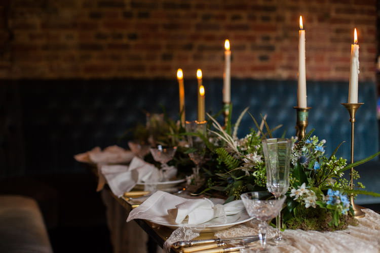 Tablescape Decor Candle Foliage Greenery Runner Blue Gold Luxe Victorian Wedding Ideas http://www.francescarlisle.co.uk/