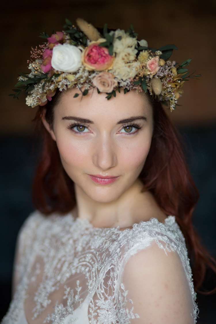 Make Up Bride Bridal Flower Crown Dried Floral Blue Gold Luxe Victorian Wedding Ideas http://www.francescarlisle.co.uk/