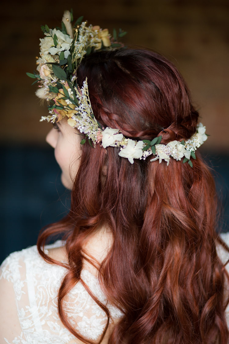 Flower Crown Bride Bridal Dried Accessory Blue Gold Luxe Victorian Wedding Ideas http://www.francescarlisle.co.uk/