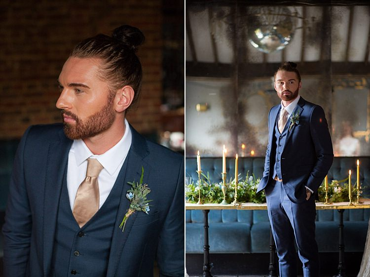 Suit Groom Blue Gold Luxe Victorian Wedding Ideas http://www.francescarlisle.co.uk/