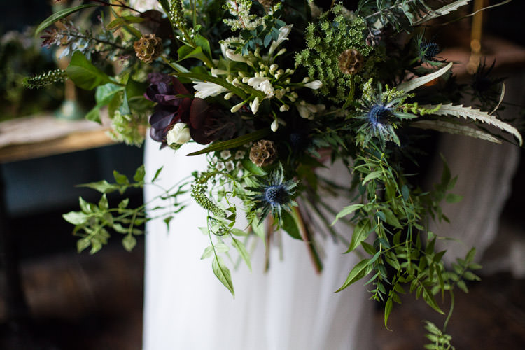 Bouquet Greenery Foliage Flowers Bride Bridal Thistle Blue Gold Luxe Victorian Wedding Ideas http://www.francescarlisle.co.uk/