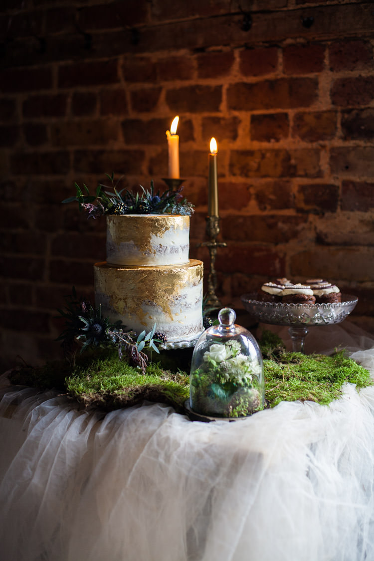 Cake Table Candle Moss Greenery Blue Gold Luxe Victorian Wedding Ideas http://www.francescarlisle.co.uk/