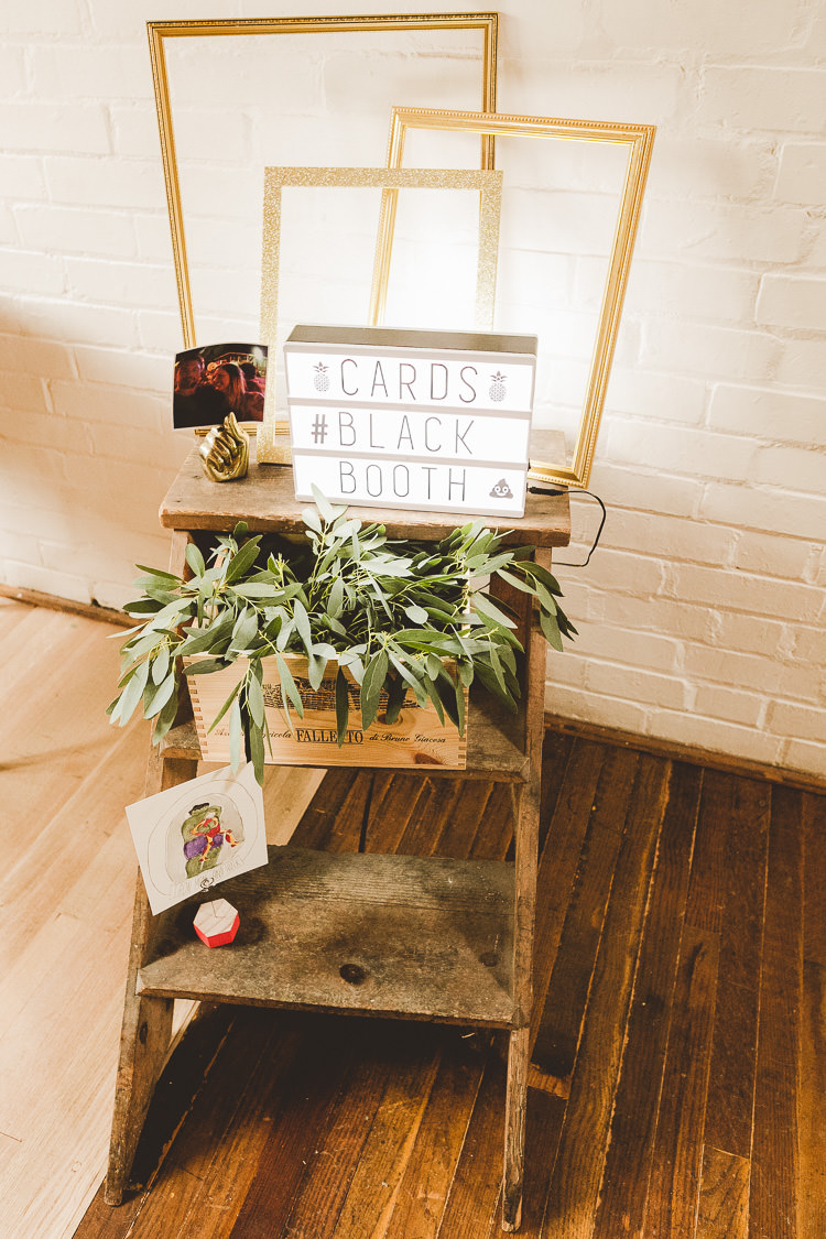 Photo Booth Ladder Decor Rustic Eclectic Whimsical Village Hall Wedding http://www.nicolacasey.photography/
