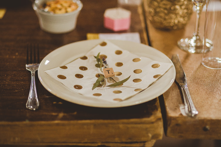 Scrabble Place Setting Polka Dot Eclectic Whimsical Village Hall Wedding http://www.nicolacasey.photography/
