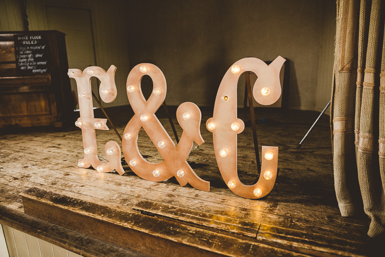 Giant Letter Lights DIY Eclectic Whimsical Village Hall Wedding http://www.nicolacasey.photography/