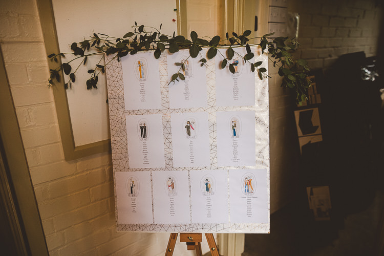 Seating Table Plan Chart Foliage Greenery Eclectic Whimsical Village Hall Wedding http://www.nicolacasey.photography/