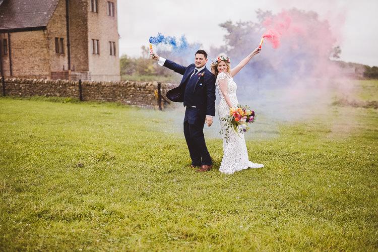 Smoke Bombs Bride Groom Portraits Eclectic Whimsical Village Hall Wedding http://www.nicolacasey.photography/