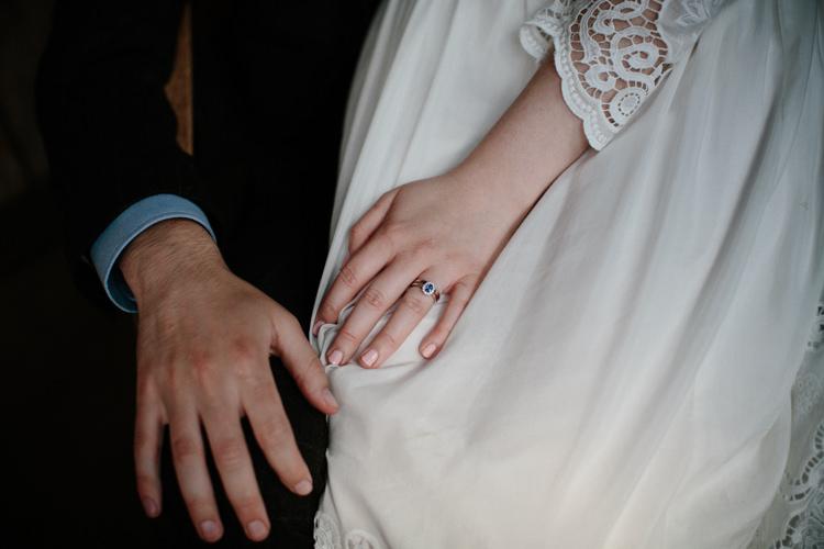 Sapphire Engagement Ring Bride Bridal Intimate Outdoor Scotland Wedding http://www.caroweiss.com/