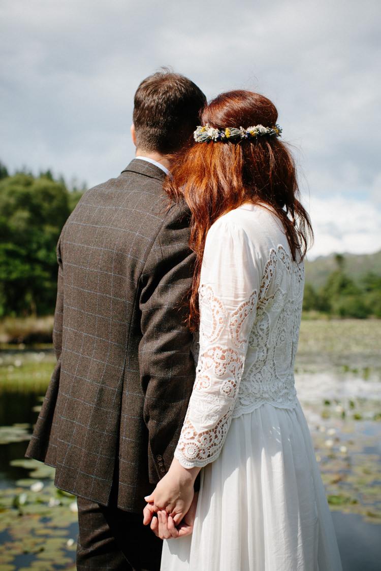 Crochet Dress Bride Bridal Gown Bohemian Intimate Outdoor Scotland Wedding http://www.caroweiss.com/