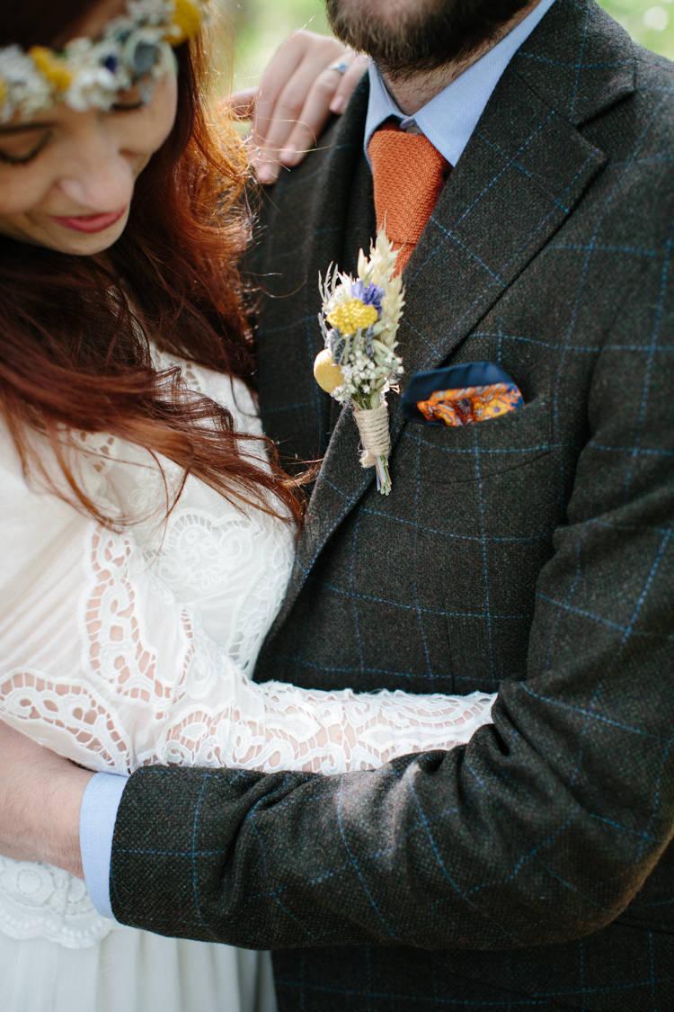 Check Brown Suit Groom Orange Tie Buttonhole Intimate Outdoor Scotland Wedding http://www.caroweiss.com/