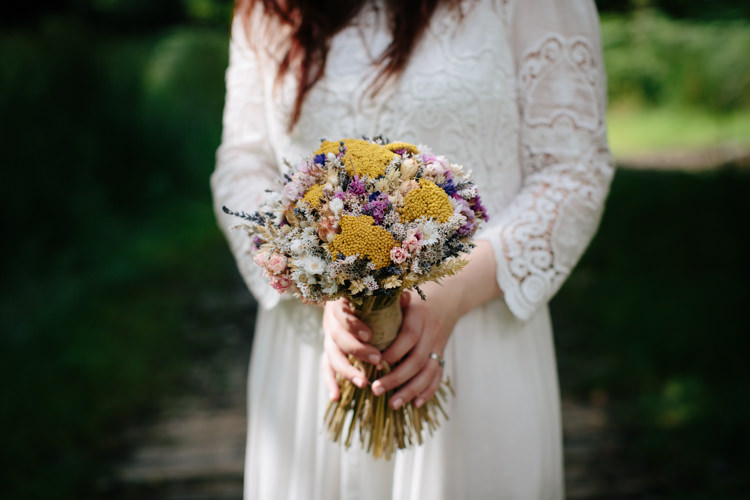 Dried Flower Bouquet Bride Bridal Intimate Outdoor Scotland Wedding http://www.caroweiss.com/