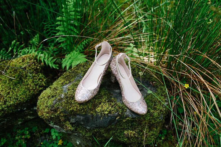 Gold Glitter Shoes Heels Bride Bridal Intimate Outdoor Scotland Wedding http://www.caroweiss.com/