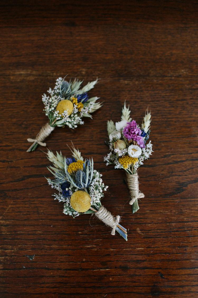 Dried Flowers Buttonholes Intimate Outdoor Scotland Wedding http://www.caroweiss.com/