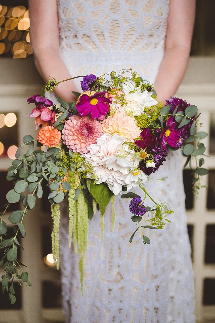 Bouquet Flowers Bride Bridal Autumn Dahlia Foliage Greenery Pink Purple Blush Eclectic Whimsical Village Hall Wedding http://www.nicolacasey.photography/