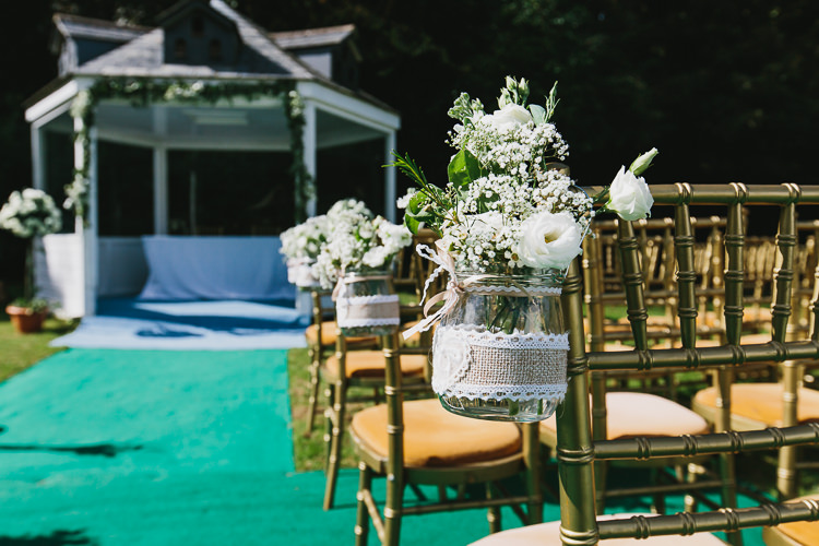 Jar Flowers Pew End Aisle Chair Hessian Lace Bohemian Outdoor Country Wedding https://www.alexapoppeweddingphotography.com/