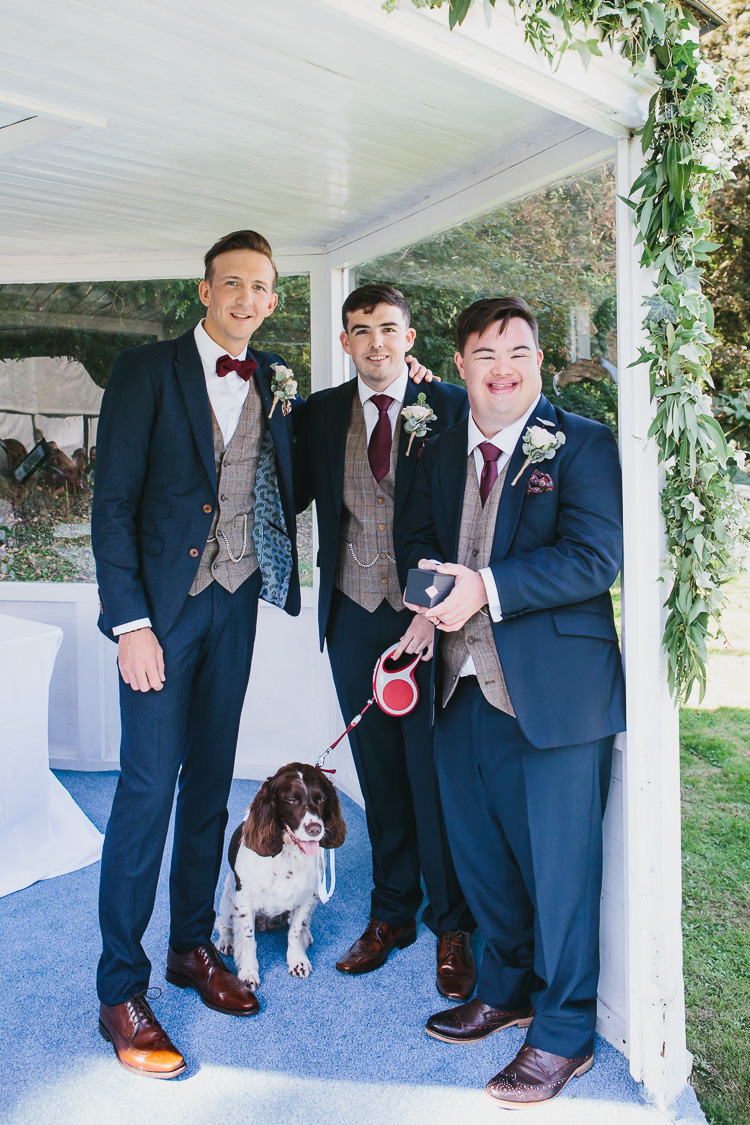 Groom Groomsmen Navy Suits Tan Shoes Red Bow Tie Bohemian Outdoor Country Wedding https://www.alexapoppeweddingphotography.com/