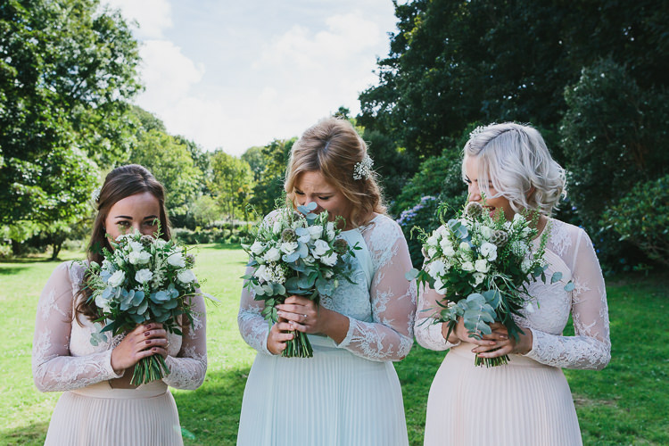 Bridesmaid Bouquets Flowers Greenery White Foliage Bohemian Outdoor Country Wedding https://www.alexapoppeweddingphotography.com/