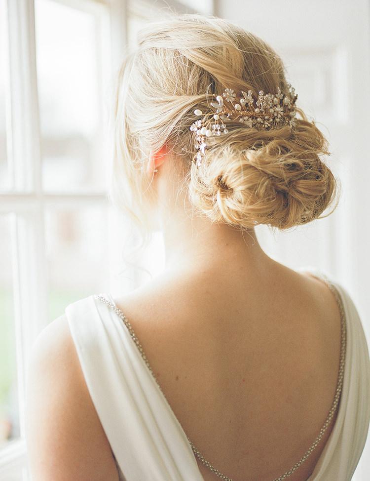 Hair Bride Bridal Up Do Style Accessory Bun Greenery Fine Art Botanical Wedding Ideas http://georginaharrisonphotography.co.uk/