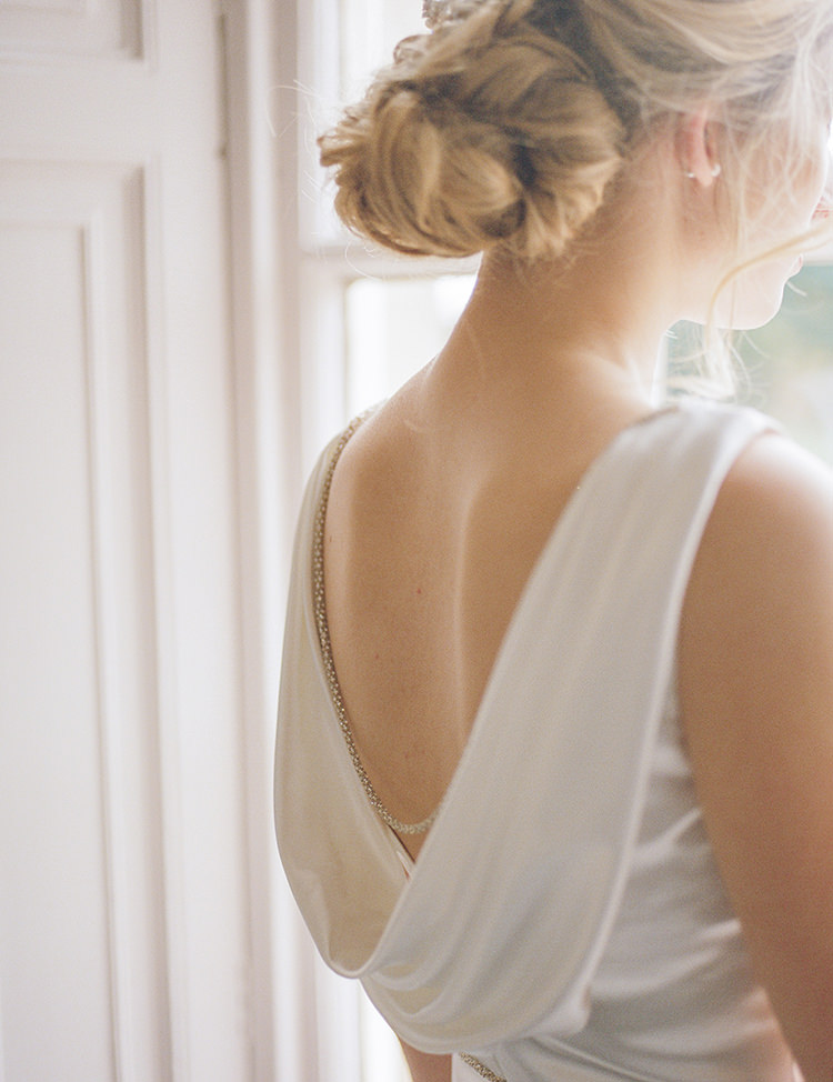 Cowl Low Back Dress Gown Bride Bridal Greenery Fine Art Botanical Wedding Ideas http://georginaharrisonphotography.co.uk/