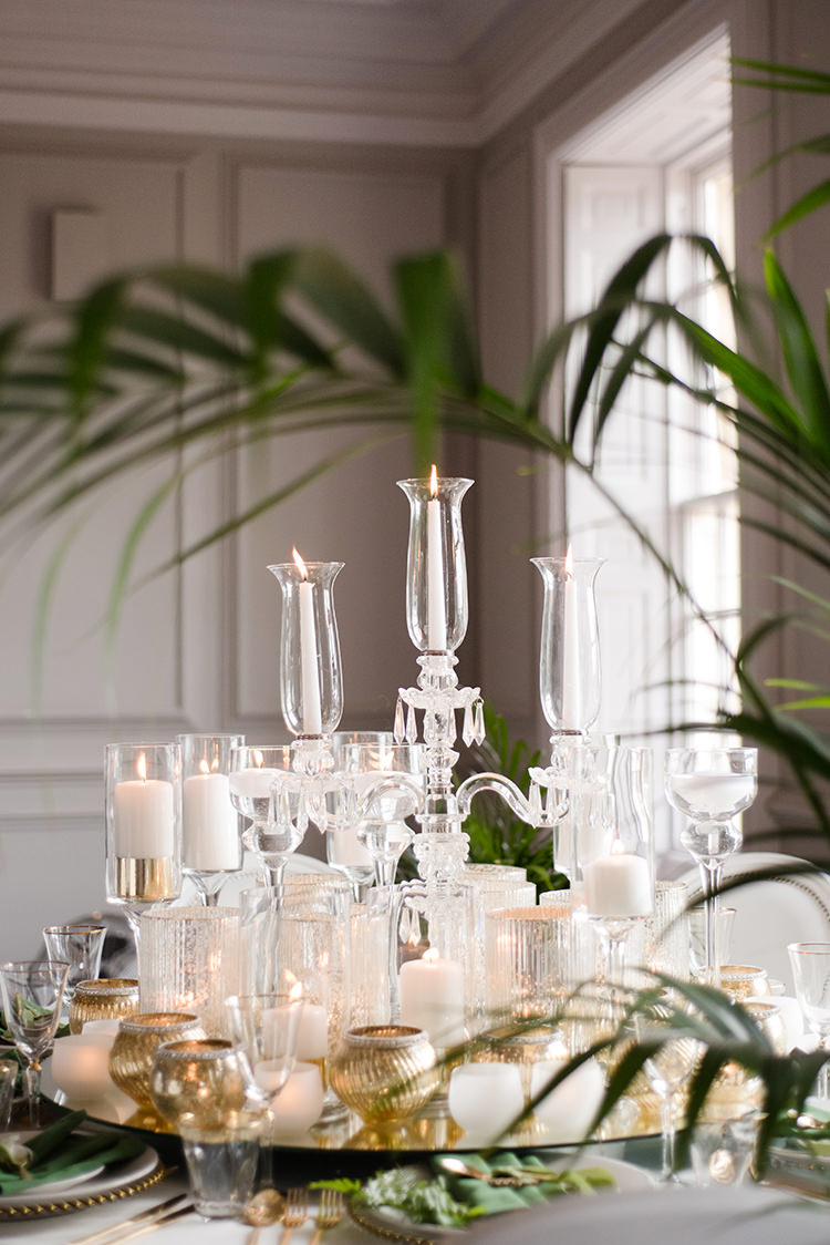 Gold White Candles Glasswear Decor Table Greenery Fine Art Botanical Wedding Ideas http://georginaharrisonphotography.co.uk/