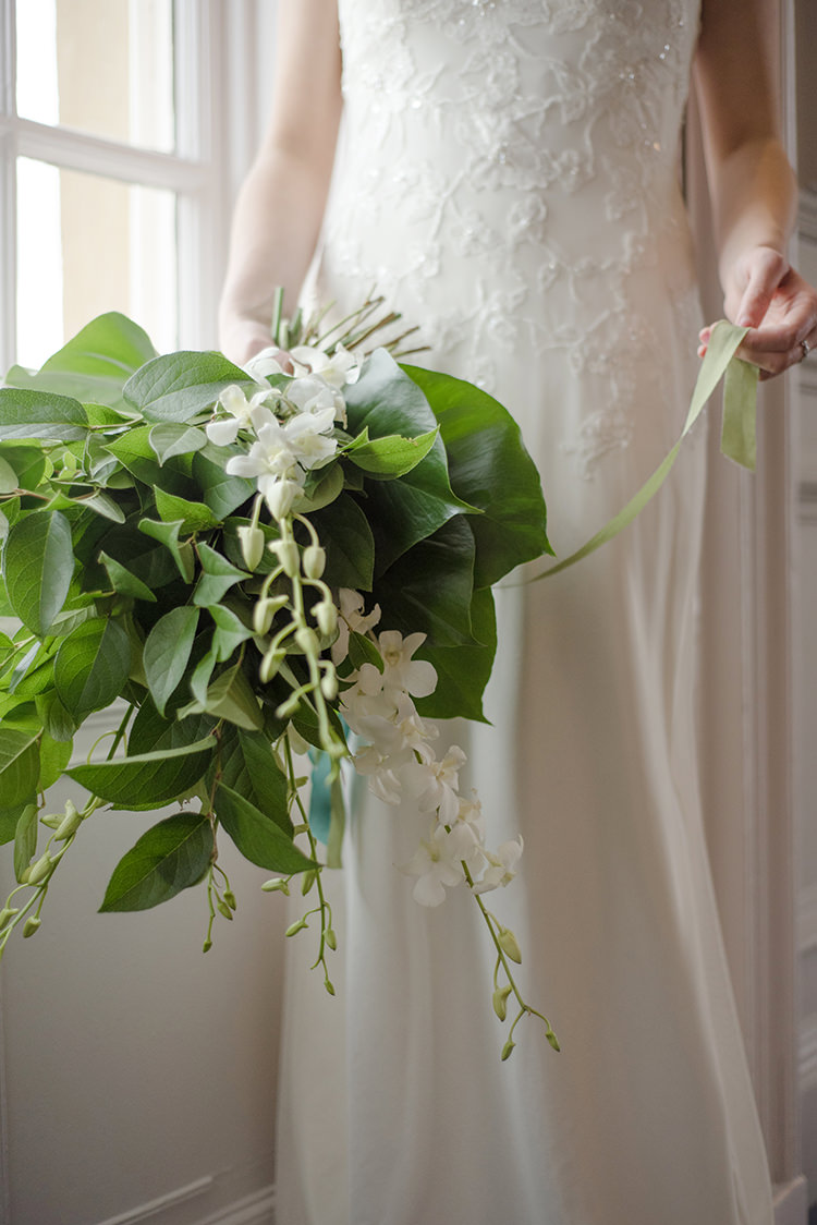 Orchid Leaves Tropical Bouquet Flowers Bride Bridal Greenery Fine Art Botanical Wedding Ideas http://georginaharrisonphotography.co.uk/