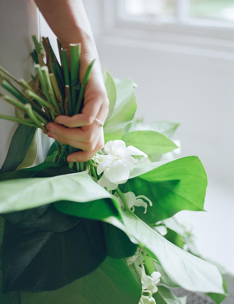 Leaf Bouquet Flowers Tropical Bride Bridal Greenery Fine Art Botanical Wedding Ideas http://georginaharrisonphotography.co.uk/
