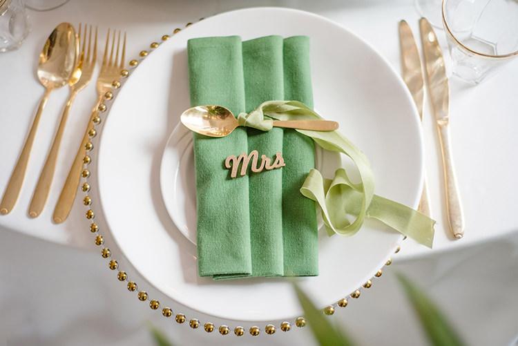 Place Setting Gold Ribbon Names Greenery Fine Art Botanical Wedding Ideas http://georginaharrisonphotography.co.uk/