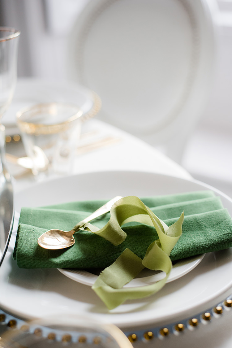 Place Setting Gold Green Ribbon Greenery Fine Art Botanical Wedding Ideas http://georginaharrisonphotography.co.uk/