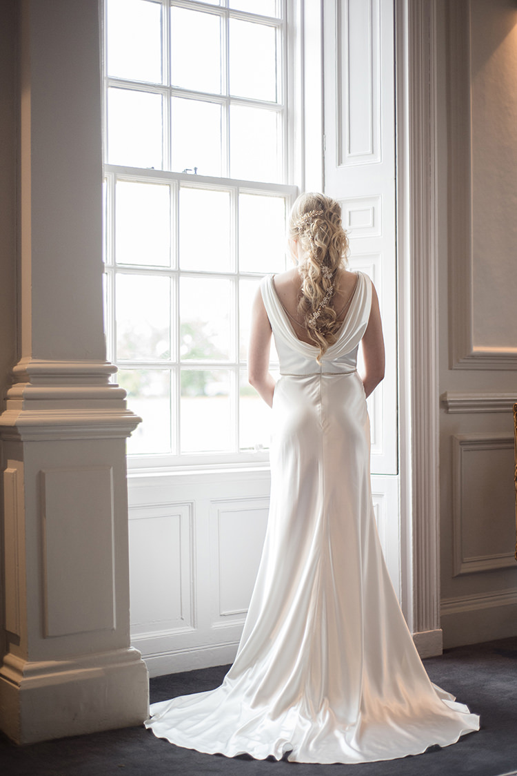 Long Dress Gown Bride Bridal Cowl Back Greenery Fine Art Botanical Wedding Ideas http://georginaharrisonphotography.co.uk/