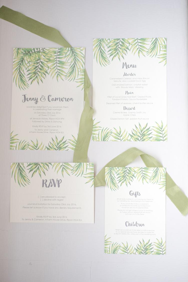 Tropical Stationery Invitations Greenery Fine Art Botanical Wedding Ideas http://georginaharrisonphotography.co.uk/