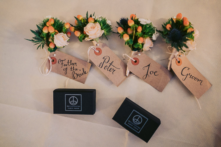 Buttonholes Fun Home Made Countryside Village Wedding http://willfullerphotography.com/