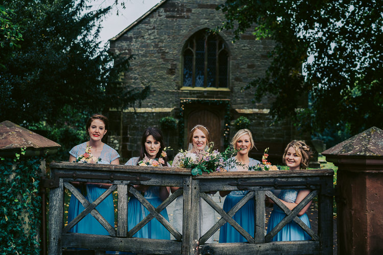 Bridesmaids Blue Dresses Fun Home Made Countryside Village Wedding http://willfullerphotography.com/