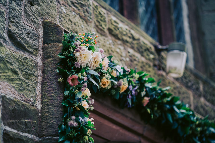 Flower Arch Church Garland Swag Fun Home Made Countryside Village Wedding http://willfullerphotography.com/