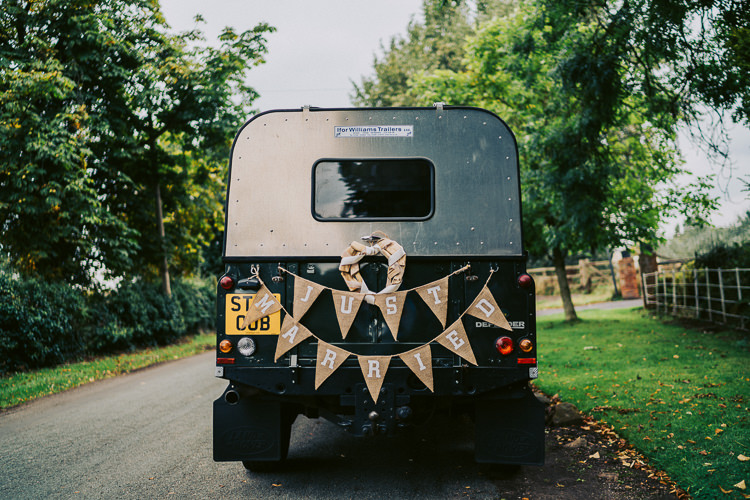 Land Rover Transport Car Fun Home Made Countryside Village Wedding http://willfullerphotography.com/
