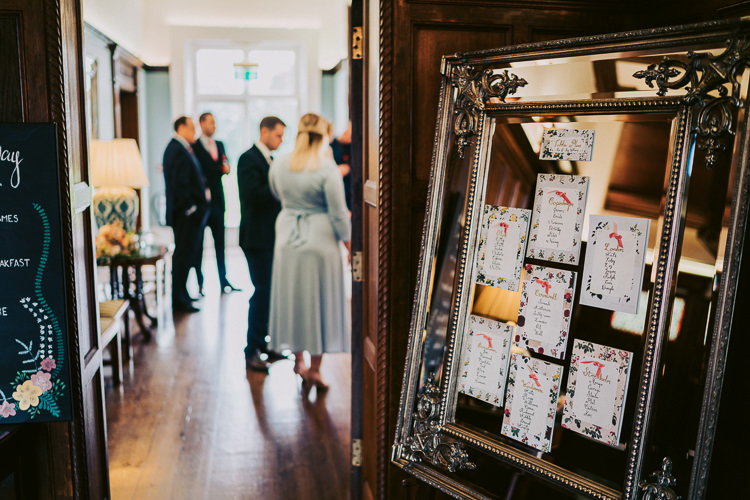 Mirror Frame Seating Plan Table Chart Fun Home Made Countryside Village Wedding http://willfullerphotography.com/