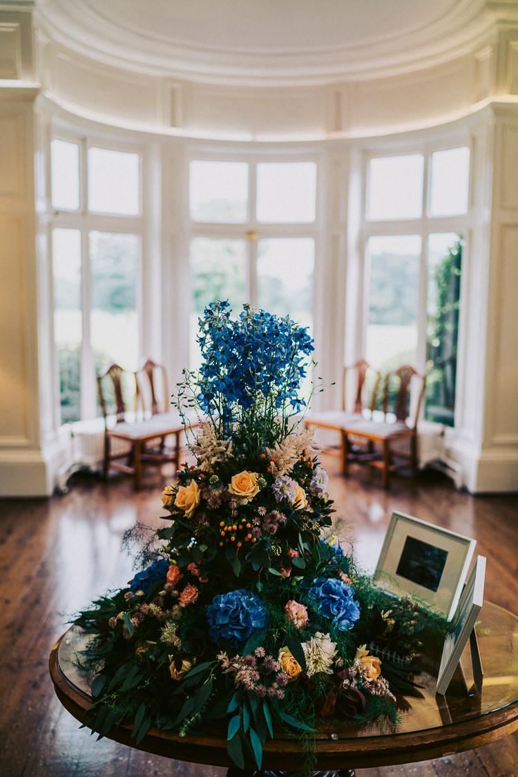 Tall Floral Flower Arrangement Blue Peach Fun Home Made Countryside Village Wedding http://willfullerphotography.com/