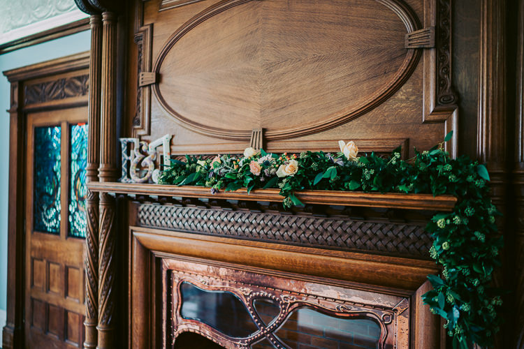 Mantle Piece Garland Swag Flowers Greenery Foliage Fireplace Fun Home Made Countryside Village Wedding http://willfullerphotography.com/