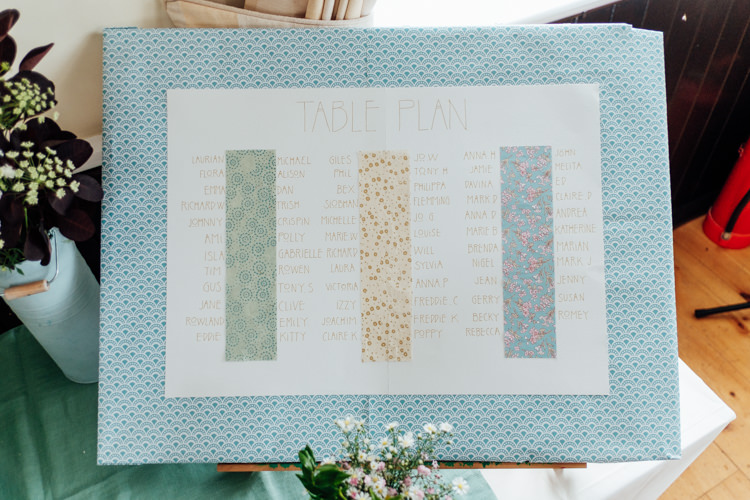 Fabric Seating Table Plan Print Chart Rural Handfasting Village Hall Wedding http://www.annapumerphotography.com/
