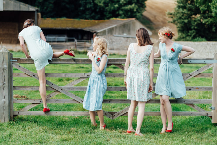 Blue Mismatched Bridesmaid Dresses Rural Handfasting Village Hall Wedding http://www.annapumerphotography.com/