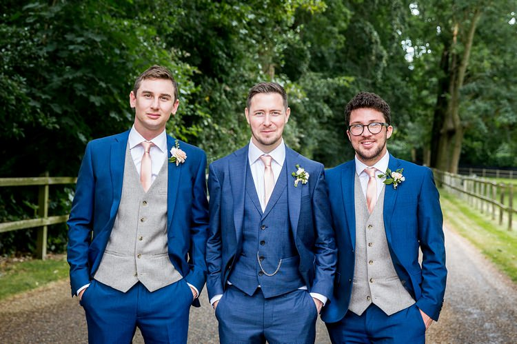 Blue Suits Groom Groomsmen Summer Country Blush Wedding Http Katherineashdown Co