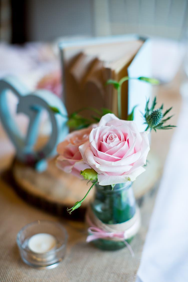 Rose Thistle Jar Flower Decor Romantic Summer Country Blush Wedding http://katherineashdown.co.uk/