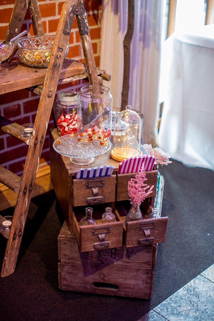 Vintage Rustic Wooden Ladder Sweet Dessert Table Romantic Summer Country Blush Wedding http://katherineashdown.co.uk/