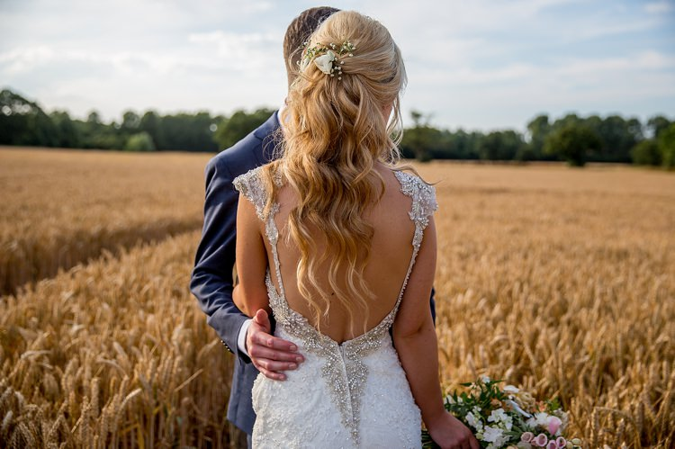 Low Back Dress Gown Beaded Long Wavy Hair Bride Bridal Romantic Summer Country Blush Wedding http://katherineashdown.co.uk/
