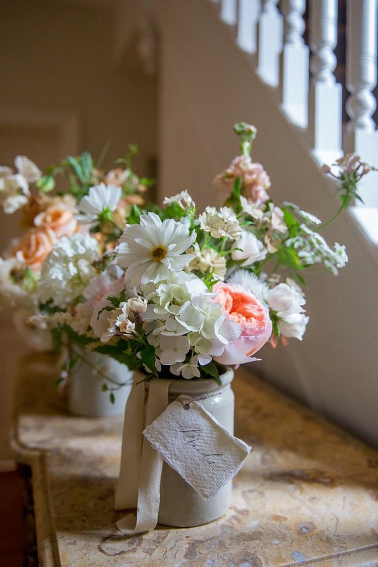 Dahlia Rose Bouquet Flowers White Ivory Bride Bridal Bridesmaids Jug Jar Romantic Summer Country Blush Wedding http://katherineashdown.co.uk/