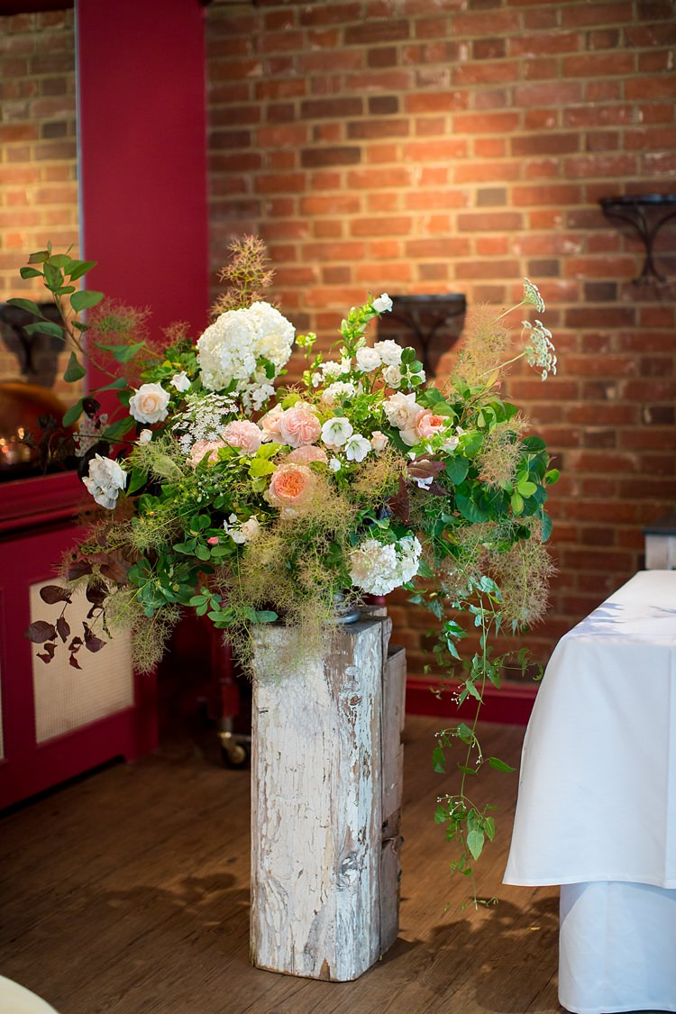 Dahlia Rose Arrangement Flowers White Ivory Trailing Ceremony Romantic Summer Country Blush Wedding http://katherineashdown.co.uk/