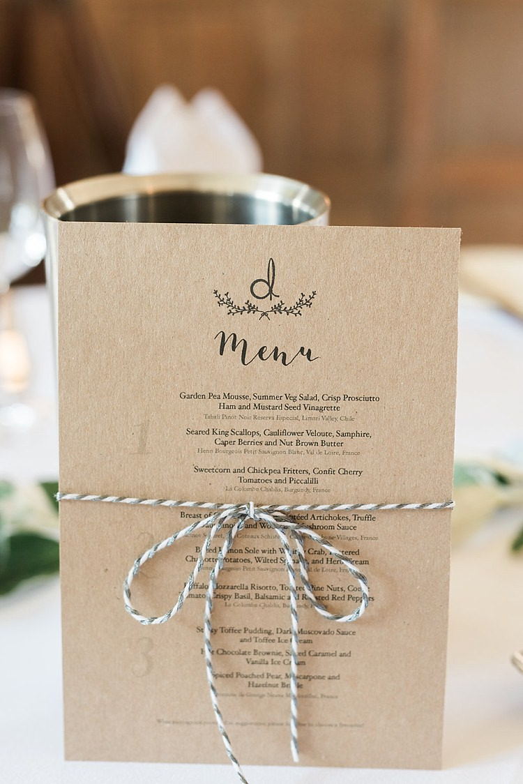 Brown Paper Kraft Stationery Menu Twine Chic Natural Garden Wedding http://www.folegaphotography.co.uk/