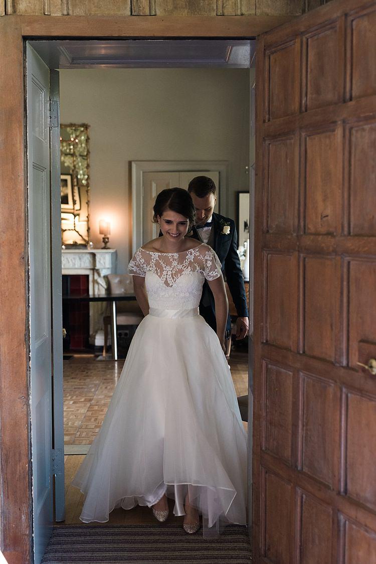Bridal Skirt Top Lace Sash Dipped Hem Gown Dress Bride Seperates Chic Natural Garden Wedding http://www.folegaphotography.co.uk/