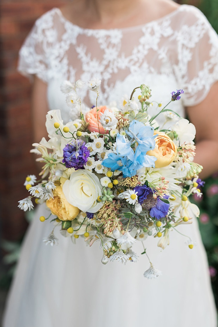 Bouquet Peach Blue Yellow Daisy Rose Bride Bridal Flowers Chic Natural Garden Wedding http://www.folegaphotography.co.uk/
